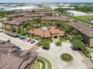 Three Bedroom Apartments for Rent in Northwest Houston, TX -Aerial View of Community & Clubhouse
